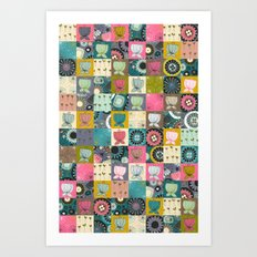 blooms patchwork Art Print