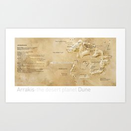 Arrakis-the desert planet Dune map Art Print