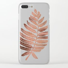 Fern Leaf – Rose Gold Palette Clear iPhone Case