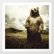 Bear in mountain landscape Art Print