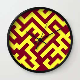 Electric Yellow and Burgundy Red Diagonal Labyrinth Wall Clock