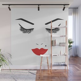 Beauty Face with Red Lips Wall Mural