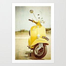 Yellow Scooter #vespaprint #italyphoto #travel #modstyle #yellowmustard Art Print
