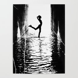 Woman Dancing in Black and White Poster