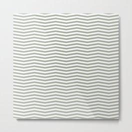 Desert Sage Grey Green and White Chevron Stripe Metal Print