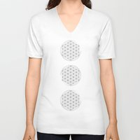 flower of life V-neck T-shirts featuring Flower of life illustration by Lewys Williams