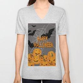 Pumpkins Happy Halloween Illustration Unisex V-Neck