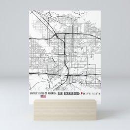 San Bernardino, USA Road Map Art - Earth Tones Mini Art Print