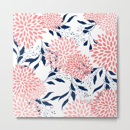 Floral Prints and Leaves, Navy Blue, Pink and White Metal Print