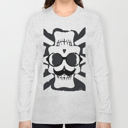 old funny skull and bone art portrait in black and white Long Sleeve T-shirt