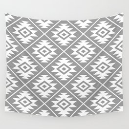 Aztec Symbol Pattern White on Gray Wall Tapestry