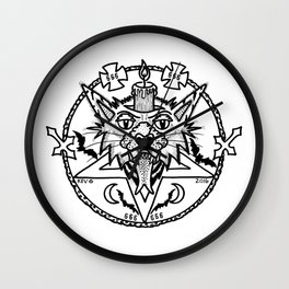 WHITE CANDLE CAT Wall Clock