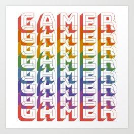 Gamer Retro Rainbow Art Print