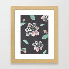 Succulents and cactus pattern Framed Art Print