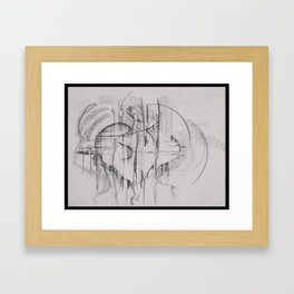 Charcoal Abstraction Framed Art Print