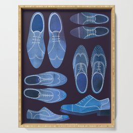 Blue Brogue Shoes for Hipsters & Gentlemen Serving Tray