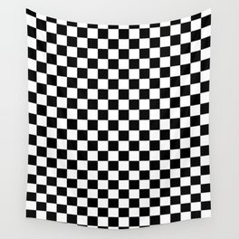 White and Black Checkerboard Wall Tapestry
