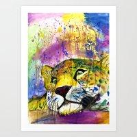Daydreaming Leopard Art Print