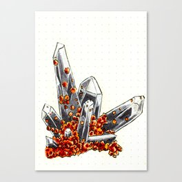 Smoky quartz and spessartine garnet Canvas Print