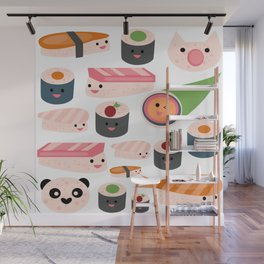 Kawaii sushi white Wall Mural
