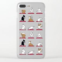 Bull Terrier Yoga Clear iPhone Case