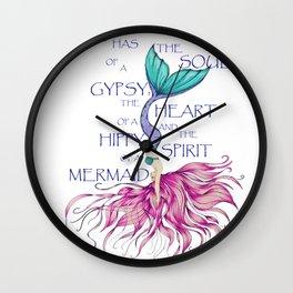 Mermaid Spirit HIppy Heart Gypsy Soul Diving Mermaid Wall Clock