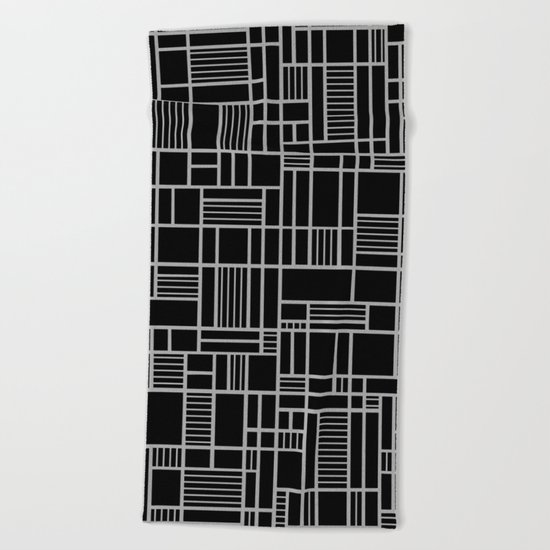 Map Outline White on Black  Beach Towel