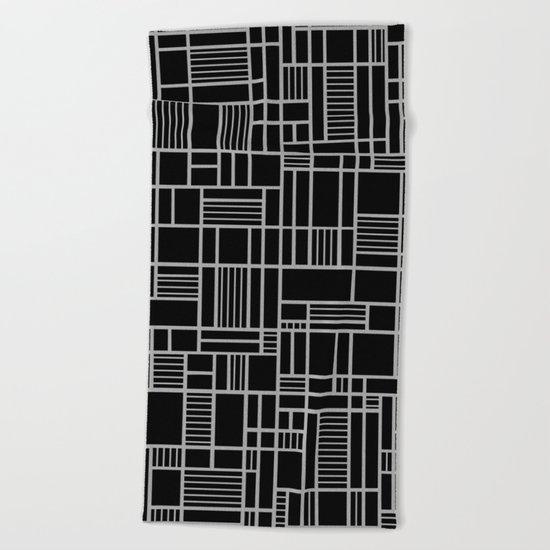 Map Outline White on Black Beach Towel