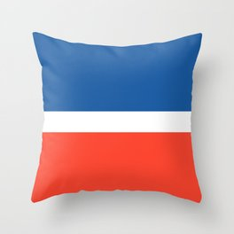 Minimalist Mid Stripe Solid Colour Block in Brilliant True Blue, White, and Red Throw Pillow