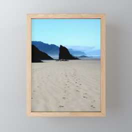 Footpirnts In The Sand Framed Mini Art Print