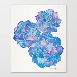 Rosette Succulents – Blue Palette Canvas Print