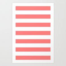 Coral White Stripes Art Print