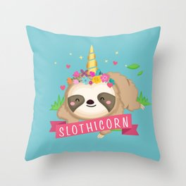 Cute Slothicorn Sloth with Unicorn Horn Design on turquoise  Throw Pillow