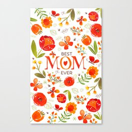 Mother's Day Watercolor Flowers and Butterflies Canvas Print