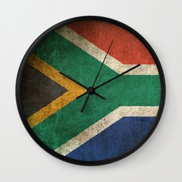 Old and Worn Distressed Vintage Flag of South Africa Wall Clock