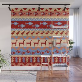 Inca Animals Fish and Birds Pattern Wall Mural