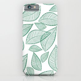 Modern abstract green glitter foliage floral iPhone Case