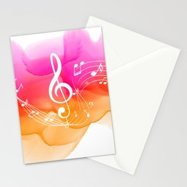 Watercolor, Musical Notes, watercolor t-shirt, watercolor sticker Stationery Cards