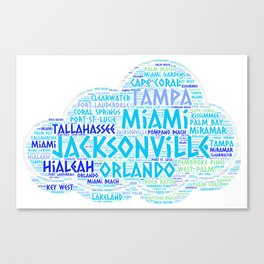 Cloud illustrated with cities of Florida State USA Canvas Print