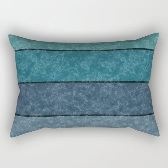 Blue and gray marble striped pattern . Rectangular Pillow