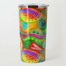 Seamless Abstract Watercolour Doodle Pattern Travel Mug