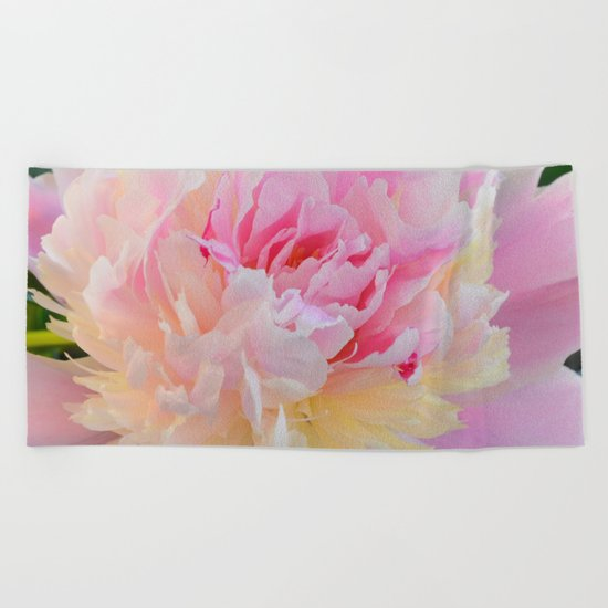Joy of a Peony by Teresa Thompson Beach Towel