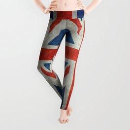UK flag, bright retro style Leggings