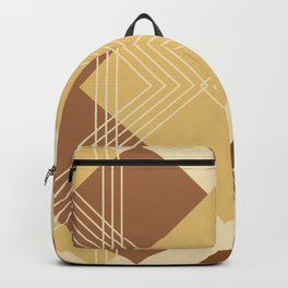 Modern Geometric Diamonds and Stripes in Golden Yellow Honey Brown Backpack