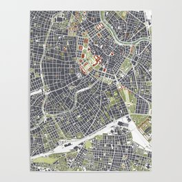 Vienna city map engraving Poster