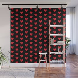 Small Hearts Pattern (red/black) Wall Mural