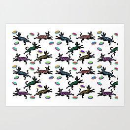 FRISBEE DOGS Art Print