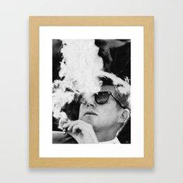Cigar Smoker Cigar Lover JFK Gifts Black And White Photo Wall Art Framed Art Print