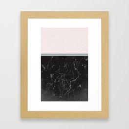 Grey Black Marble Meets Romantic Pink #1 #decor #art #society6 Framed Art Print