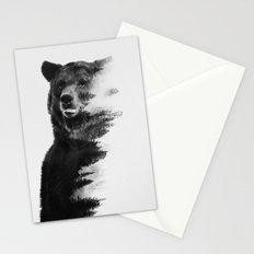 Observing Bear (black & white version) Stationery Cards